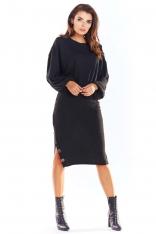 Czarny Nowoczesny Oversizowy Sweter z Guzikami