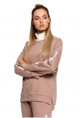Oryginalna Bluza z Kontrastowym Golfem - Cappuccino