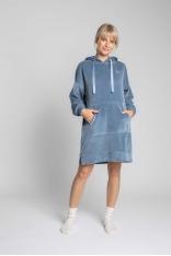 Welurowa Sukienka w Sportowym Wydaniu - Niebieska