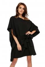 Czarna Luźna Asymetryczna Sukienka z Wiązanym Paskiem