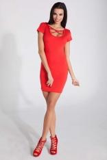 Czerwona Dopasowana Mini Sukienka z Intrygującym Dekoltem