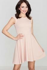 Różowa Rozkloszowana Sukienka z Zakładkami
