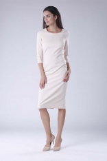 Beżowa Klasyczna Dopasowana Sukienka Midi