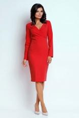 Czerwona Wizytowa Dopasowana Sukienka z Guzikami przy Dekolcie