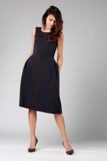 Czarna Rozkloszowana Sukienka bez Rękawów z Wypustkami