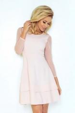 Różowa Sukienka Wizytowa Rozkloszowana z Transparentnymi Rękawami