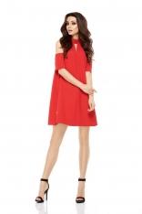 Wizytowa Sukienka o Linii A z Wyciętymi Ramionami - Czerwona