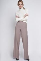 Beżowa Eleganckie Spodnie z Szerokimi Nogawkami w Kant