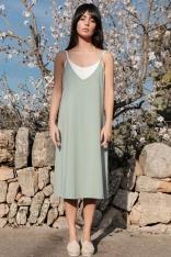 Bawełniana Sukienka na Ramiączkach - Pistacjowa