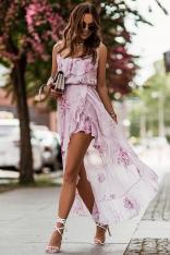 Asymetryczna Sukienka z Falbankami - Różowa