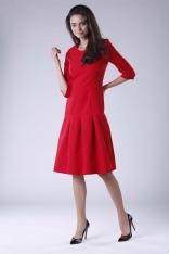 Czerwona Wizytowa Sukienka z Obniżonym Stanem