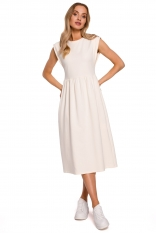Bawełniana Midi Sukienka z Podwyższonym Stanem - Śmietankowa