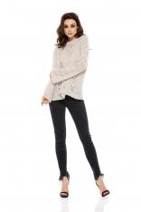 Beżowy Sweterek Oversize Luźny Ażurowy