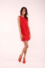 Czerwona Krótka Sukienka bez Rękawów z Koronkowymi Wstawkami