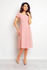 Pudrowa Klasyczna i Elegancka Sukienka Midi