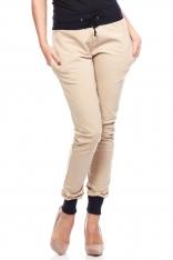 Beżowe Dresowe Spodnie z Kontrastowymi Ściągaczami