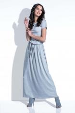 Szara Sukienka Maxi z Wiązanym Paskiem