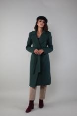 Klasyczny Płaszcz Wiązany w Talii - Zielony
