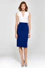 Niebieska Elegancka Ołówkowa Spódnica do Kolan