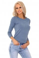 Niebieski Klasyczny Sweter z Perełkami