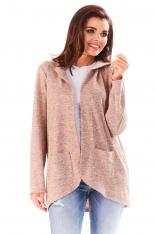 Różowy Sweter Asymetryczny bez Zapięcia z Kapturem