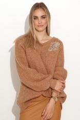 Moherowy Sweter z Błyszczącą Naszywką - Brązowy
