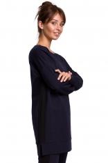 Dłuższa Bluza z Lampasami - Granatowa