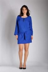 Niebieska Nowoczesna Sukienka z Zamkiem przy Dekolcie PLUS SIZE