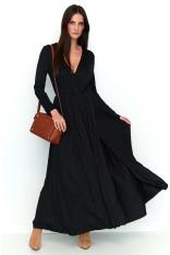 Czarna Kopertowa Maxi Sukienka z Długim Rękawem