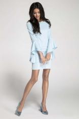 Błękitna Ołówkowa Krótka Sukienka Asymetryczną Falbanką