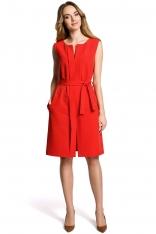 Czerwona Wyjściowa Sukienka bez Rękawów z Plisą