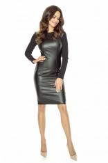 Czarna Nowoczesna Sukienka z Eko-skóry