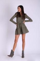 Khaki Krótka Dziewczęca Sukienka z Falbanką