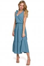 Zwiewna Midi sukienka Wiązana na Ramionach - Niebieska