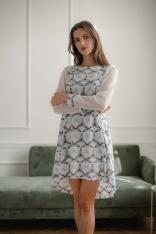 Rozkloszowana Sukienka z Siateczkowym Rękawem - Wzór 114