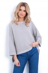 Swetrowa Beżowa Bluzka w Prążek o Kroju Oversize