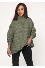 Zielony Ciepły Oversizowy Sweter z Golfem