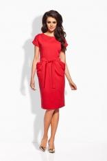Czerwona Casualowa Sukienka z Wiązanym Paskiem
