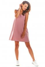 Różowa Krótka Letnia Sukienka z Dekoltem na Plecach