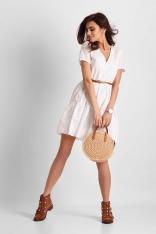 Biała Ażurowa Sukienka Letnia