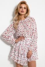 Komplet w Kwiatki Bluzka i Mini Spódnica - Biały