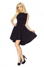 Czarna Klasyczna Sukienka bez Rękawów z Szerokim Wydłużonym Dołem