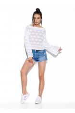 Biały Luźny Sweter z Rozkloszowanym Rękawem