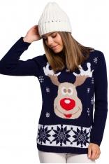 Granatowy Świąteczny Sweter z Reniferem