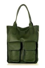 Torebka shopper z kieszeniami MAZZINI - Ravenna zielony khaki