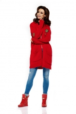 Czerwony Długi Klasyczny Kardigan z Naszywkami