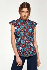 Kwiatowa Letnia Koszulowa Bluzka z Falbankami