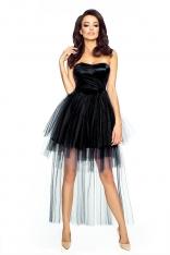 Czarna Elegancka Sukienka Wieczorowa z Trenem