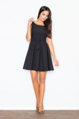 Czarna Elegancka Sukienka z Modnymi Plisami +Pasek