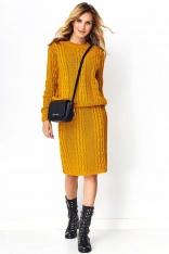 Musztardowy Efektowny Komplet w Warkocze Sweter+ Spódnica